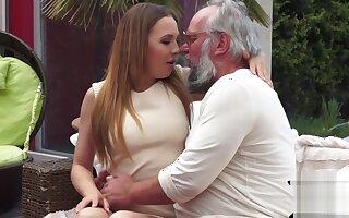 19yo blonde babe takes grandpas cock