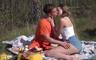 Romantic outdoor sex on a camping allude for beautiful Andrea Sixth