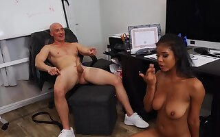 After bad game bald coach relaxes overwrought making out Ebony cheerleader