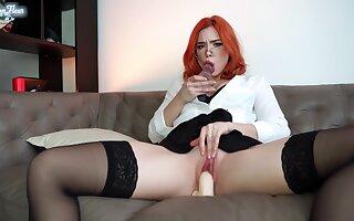 Secretary In Stockings Masturbates Pussy Dildos Spanks Big Pest And Intense Orgasm In The Office