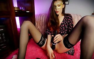 Main In A Flowery Dress Without Panties Plays With A Vibrator And A Dildo