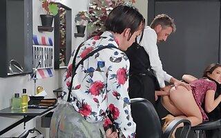 Bimbo sexpot nicely analyzed by perverted proprietor of barbershop
