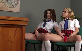 Schoolgirls explanations out in of a male effeminate tryout while being watched
