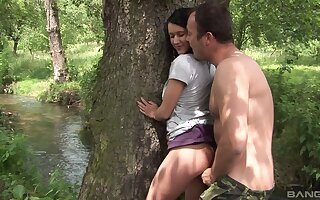 Quickie gender close by the bench boonies with natural boobs Angelica Skies