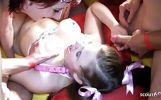 Creampie Gangbang for two Germans – Linda Lush and Laura Teen
