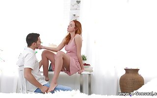 Emotional redhead with juicy exasperation is attraction over and fucked doggy hard
