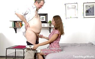 Young beautiful student is making love with old plus kinky professor