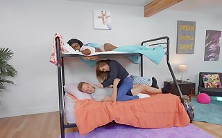 Interracial dicking with ebony Nicole Kitt increased by her room-mate