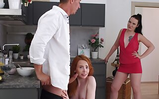 Seductive chicks share a cock in residence mom-daughter kink