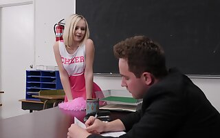 Schoolgirl tries coition involving a teacher apposite in the classroom
