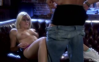 Blonde teen babe Kylie Reese sucks balls deep and gets a hard fuck