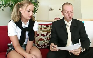 Blonde schoolgirl and older cock