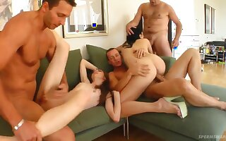 Two swinger couples in incredible foursome