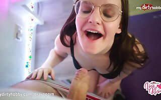 Nerdy teen babe POV reverse cowgirl creampie
