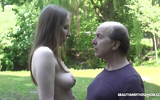 An old fart explores a tall young woman and that babe fucks like mad
