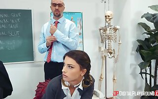 Irresistible schoolgirl Kristen Scott gets a lesson from male teacher