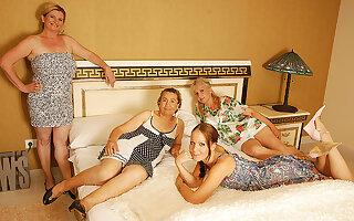 Four Elderly And Young Lesbians Having A Special Bandeau - MatureNL