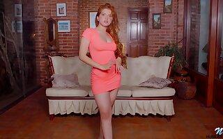 Alluring redhead indulge Angelina Praga gets rid of dress give go solo