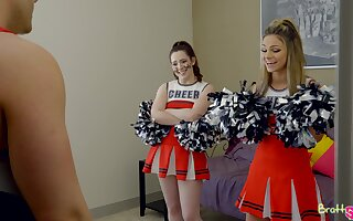 Horny cheerleader Ember Stone feels fantastic riding strong cock