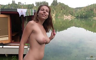 Desirable girlfriend Antonia Sainz drops the brush threads in outdoors