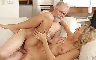VIP4K. Alight blonde gets satisfied by old husband