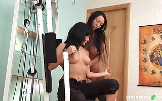 Unconventional babes Melissa D and Sunny C poke each other's assholes