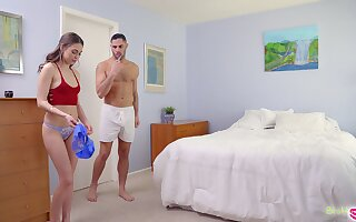 Cute girl Riley Reid finds stepbrother's sperm on her Y-fronts