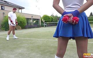 Tennis court attendant Amirah Adara is a huge junkie be proper of the top players