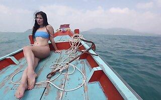 Sexy bootyful brunette bikini chick Cassie rides cock mad non-operative