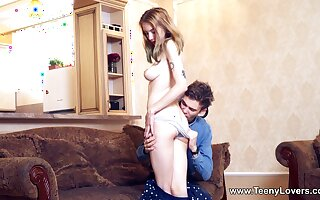Adorable girlfriend gets undressed and fucked by the brush show one's age