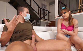 The young doll is interested in stepbrother's heavy dong