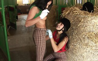 Kinky lesbian sex fro a dildo between Angelica Black increased by Lucy Bell